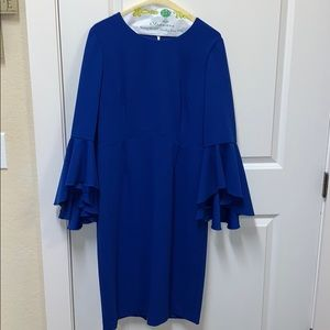 Maggy London waterfall sleeve dress Royal Blue